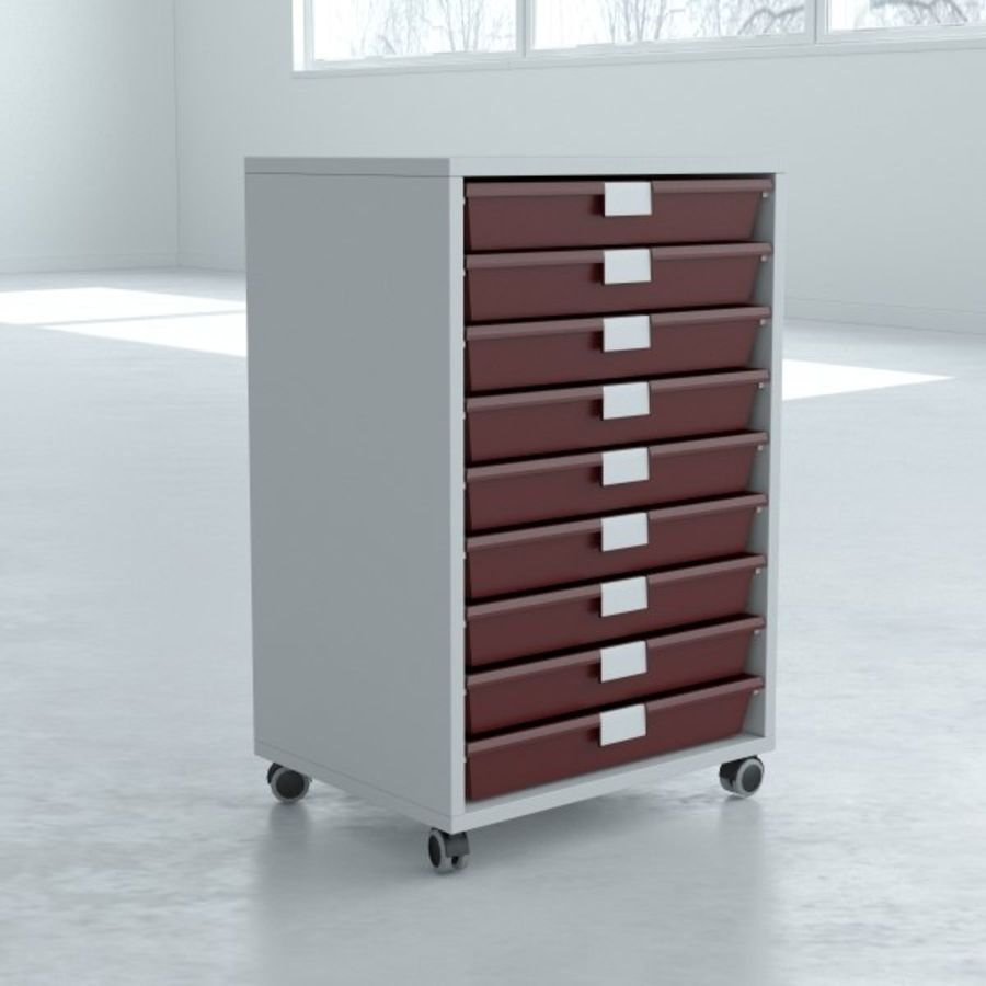 Narrow Lab Cart royalty-free 3d model - Preview no. 2