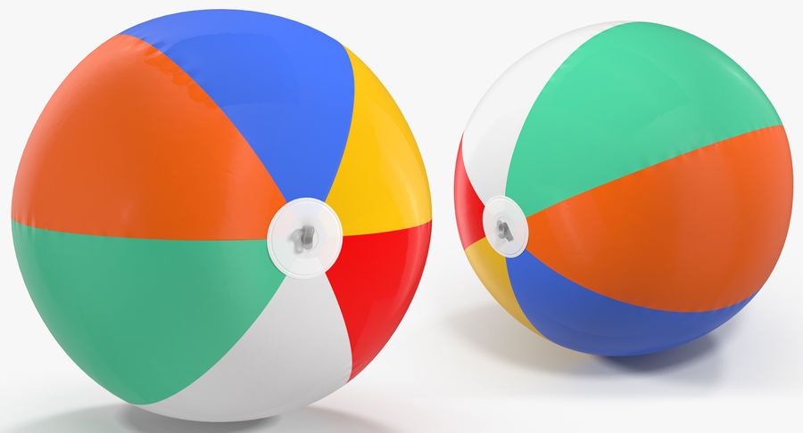 Inflatable Rainbow Color Beach Ball royalty-free 3d model - Preview no. 4