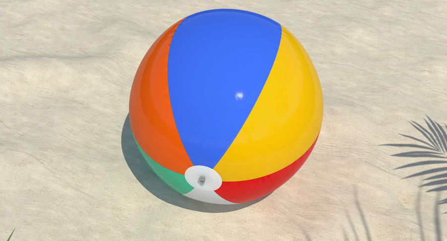 Inflatable Rainbow Color Beach Ball royalty-free 3d model - Preview no. 3