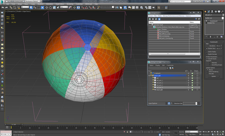 Inflatable Rainbow Color Beach Ball royalty-free 3d model - Preview no. 12