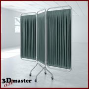 三面板钢架折叠屏风 3d model
