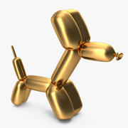 Jeff Koons Golden Balloon Dog 3d model