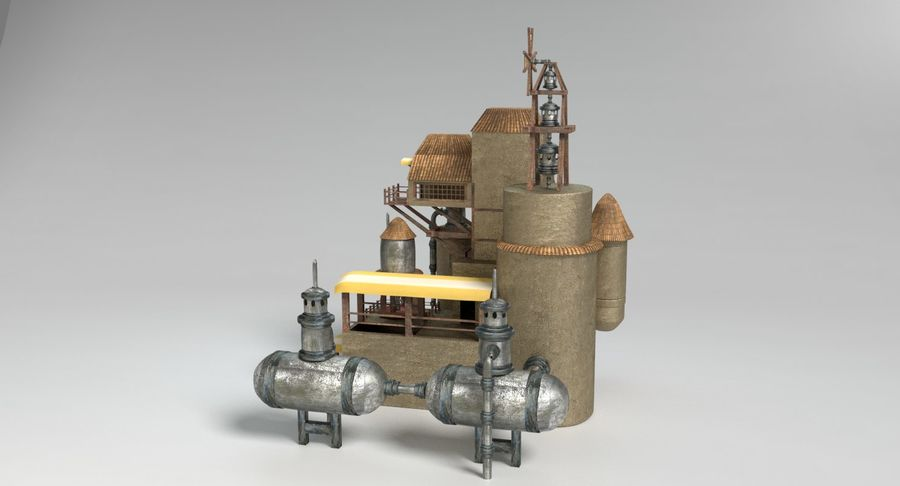Maison steampunk royalty-free 3d model - Preview no. 7