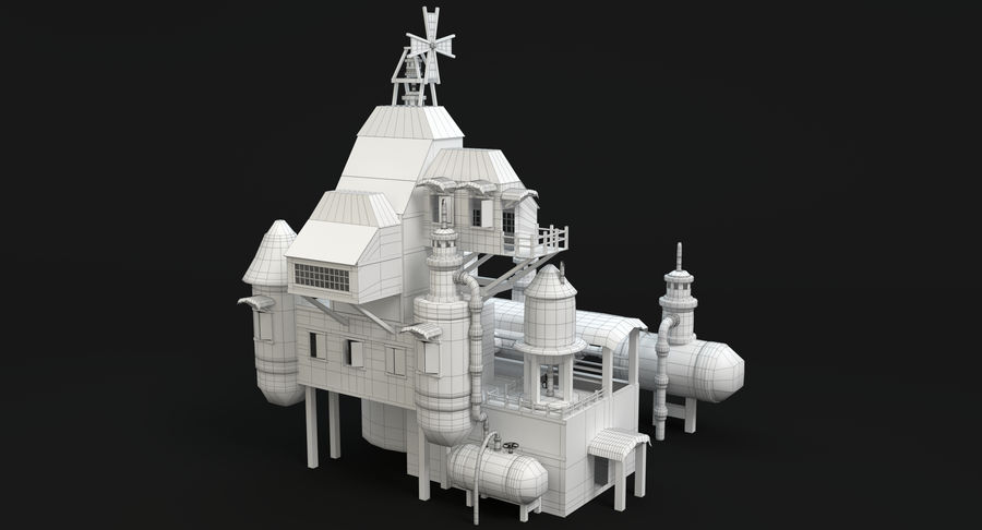 Maison steampunk royalty-free 3d model - Preview no. 11
