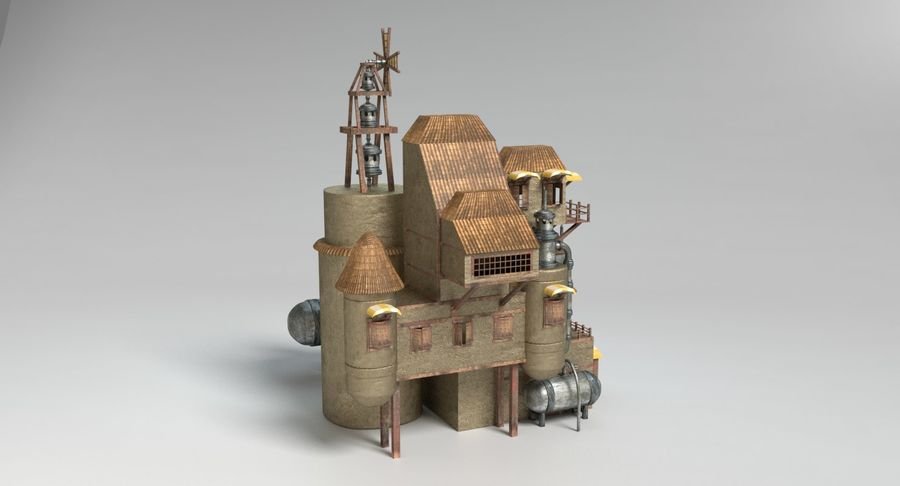 Maison steampunk royalty-free 3d model - Preview no. 5