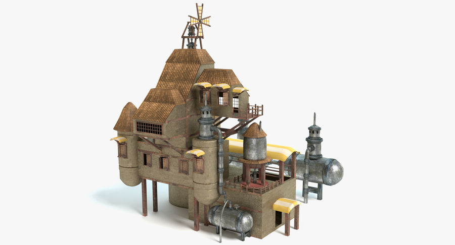 Maison steampunk royalty-free 3d model - Preview no. 2
