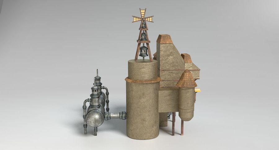 Maison steampunk royalty-free 3d model - Preview no. 6