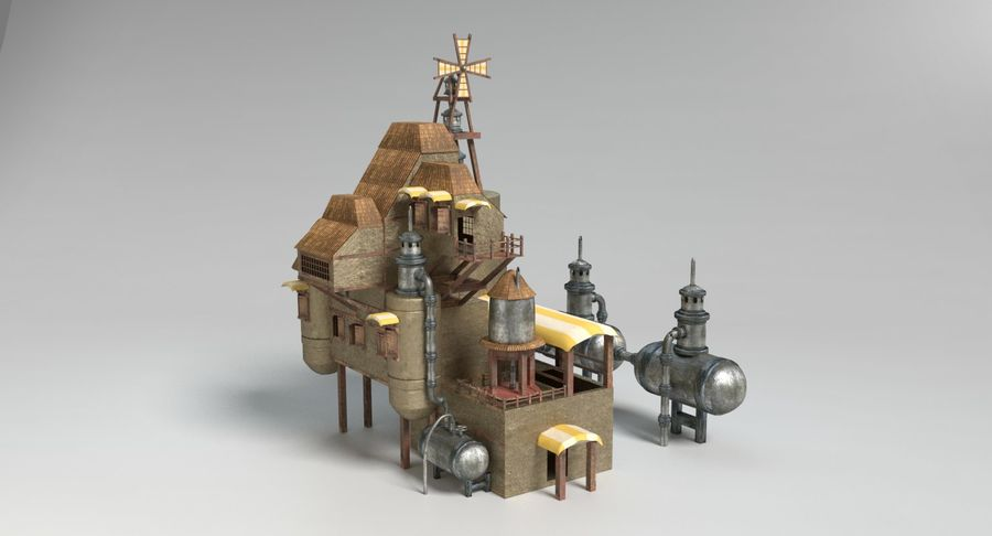 Maison steampunk royalty-free 3d model - Preview no. 9