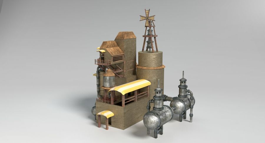 Maison steampunk royalty-free 3d model - Preview no. 8