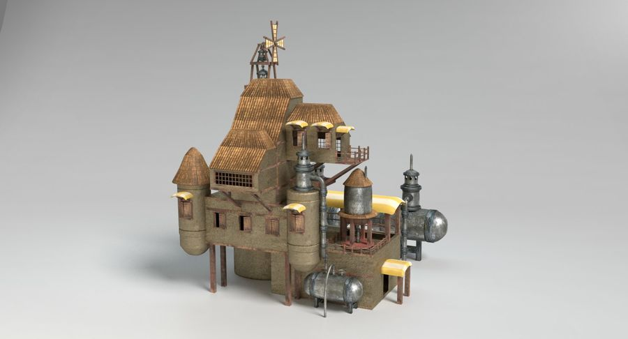 Maison steampunk royalty-free 3d model - Preview no. 4