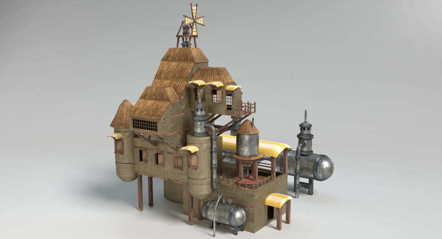 Maison steampunk royalty-free 3d model - Preview no. 3