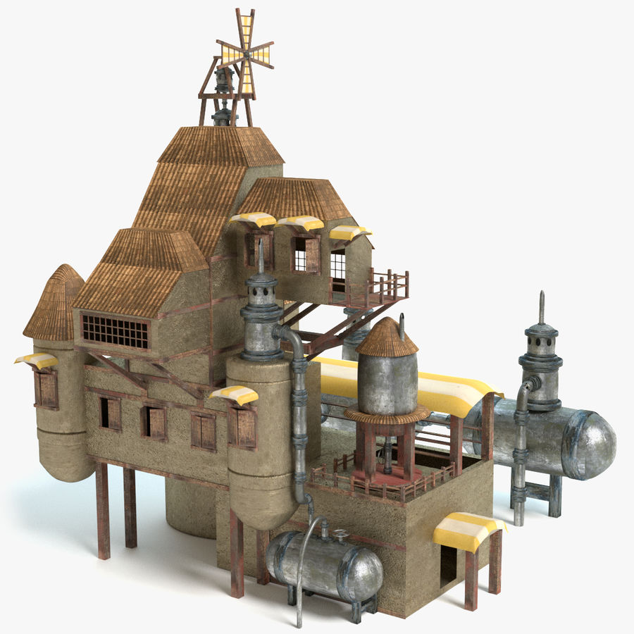 Maison steampunk royalty-free 3d model - Preview no. 1