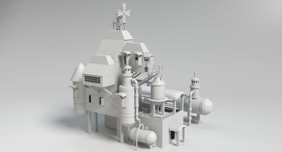 Maison steampunk royalty-free 3d model - Preview no. 10