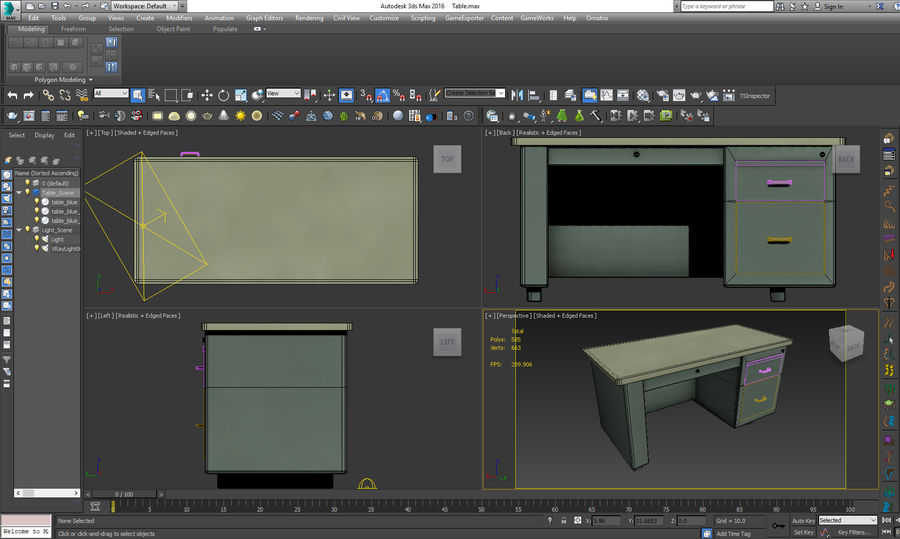 Desk Table royalty-free 3d model - Preview no. 10