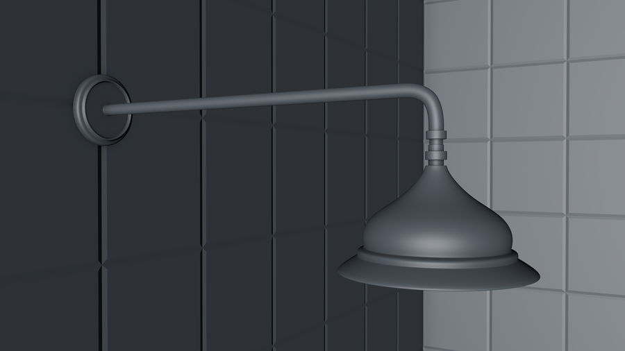 Retro Duş Başlığı royalty-free 3d model - Preview no. 6