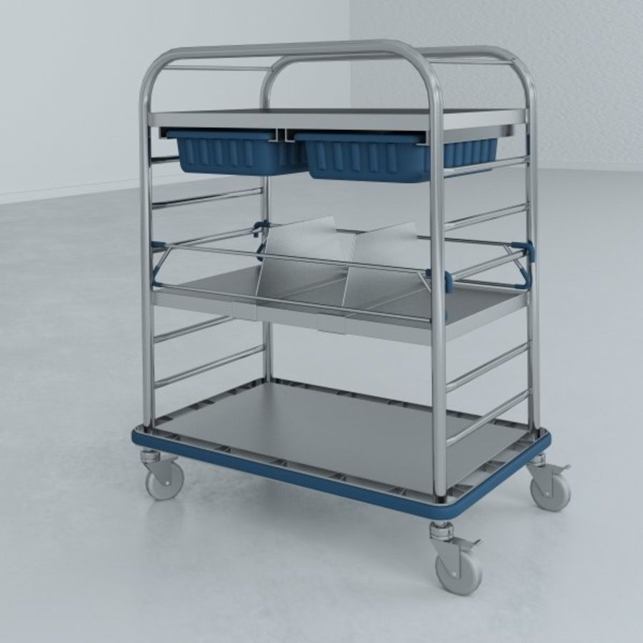 Medical Small Distribution Cart royalty-free 3d model - Preview no. 3