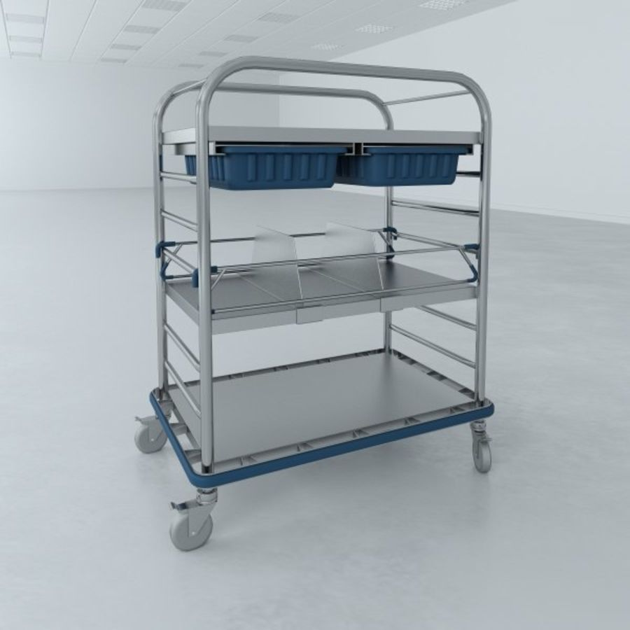 Medical Small Distribution Cart royalty-free 3d model - Preview no. 2