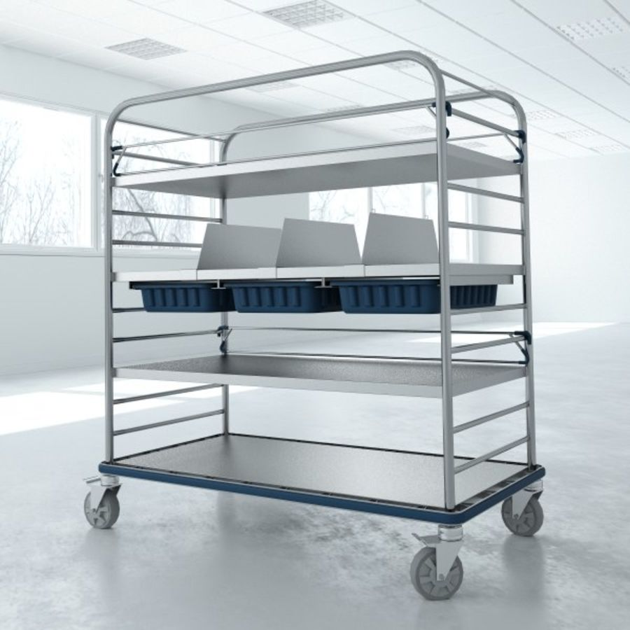 Medical  Large Distribution Cart royalty-free 3d model - Preview no. 4