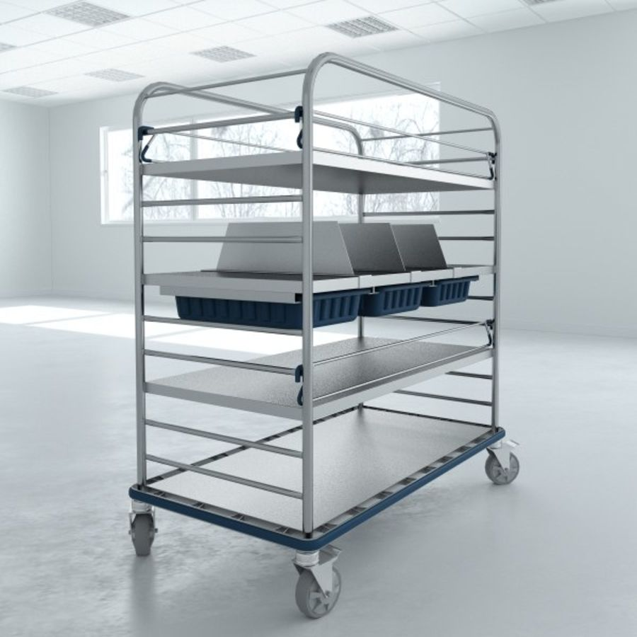Medical  Large Distribution Cart royalty-free 3d model - Preview no. 6
