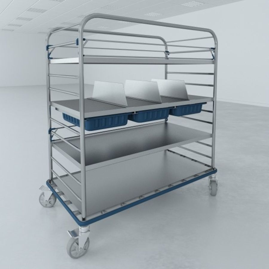 Medical  Large Distribution Cart royalty-free 3d model - Preview no. 2