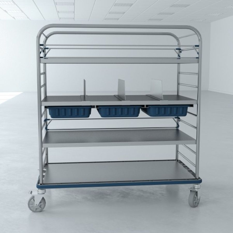 Medical  Large Distribution Cart royalty-free 3d model - Preview no. 5