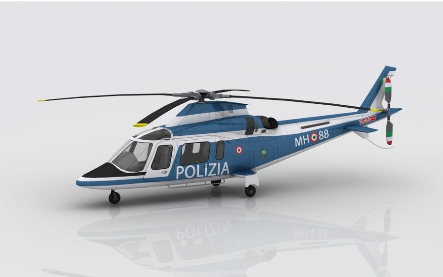 Agusta AW 109 Polizia royalty-free 3d model - Preview no. 7
