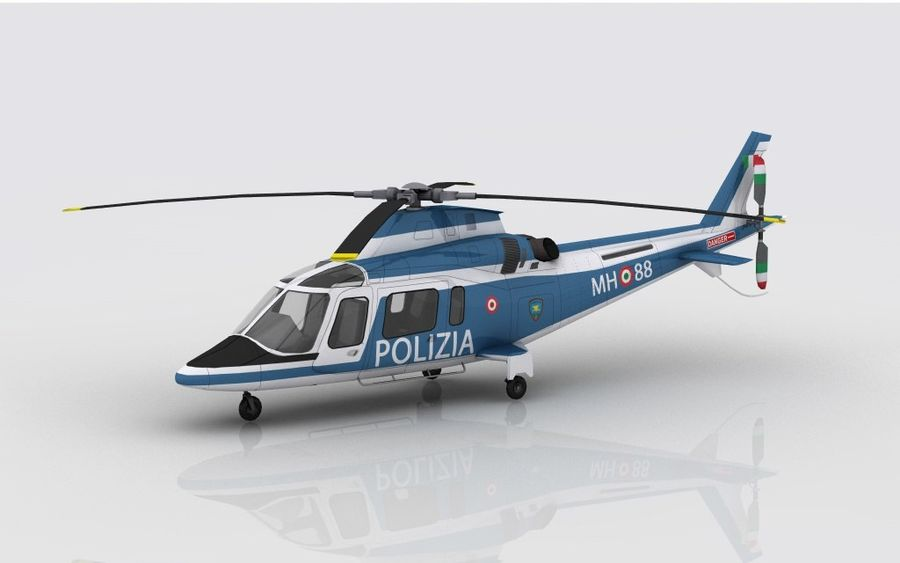 Agusta AW 109 Polizia royalty-free 3d model - Preview no. 1