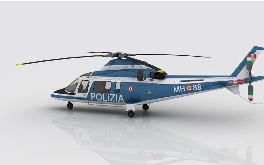Agusta AW 109 Polizia royalty-free 3d model - Preview no. 6