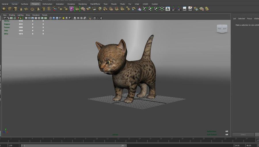 sevimli kedi yavru kedi düşük Poli royalty-free 3d model - Preview no. 7