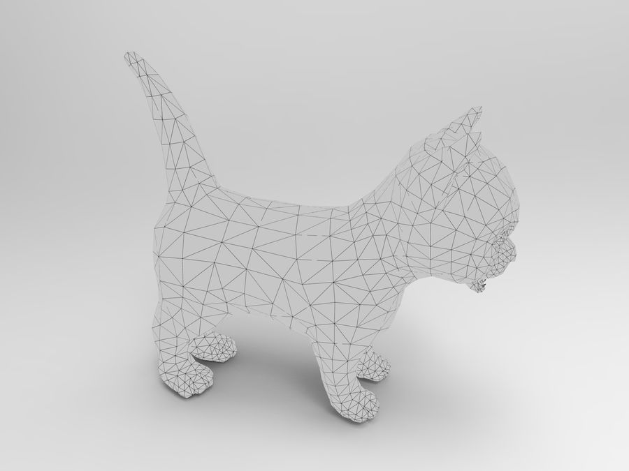 sevimli kedi yavru kedi düşük Poli royalty-free 3d model - Preview no. 14