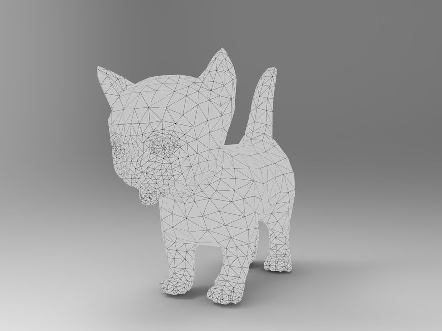 sevimli kedi yavru kedi düşük Poli royalty-free 3d model - Preview no. 13