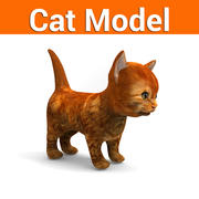 cartoon kat laag poly 3d model