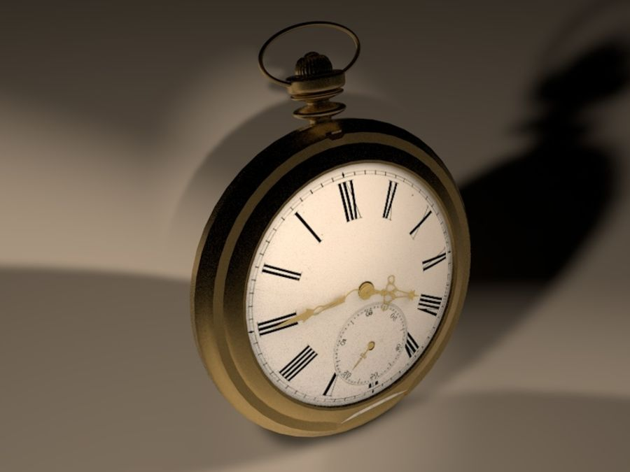 Old Pocket Watch royalty-free 3d model - Preview no. 3