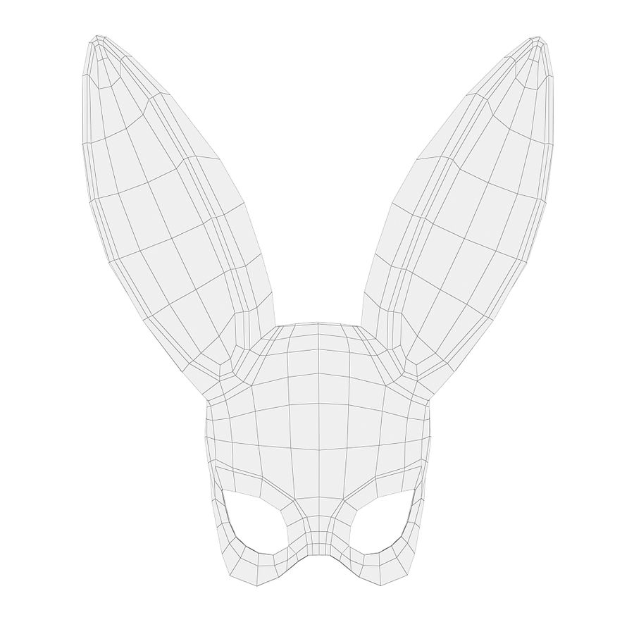Masque de lapin noir royalty-free 3d model - Preview no. 4