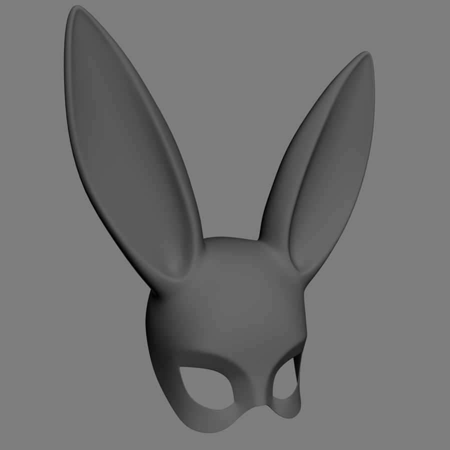 Masque de lapin noir royalty-free 3d model - Preview no. 6