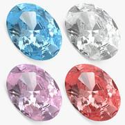 타원형 컷 다이아몬드 세트 3d model