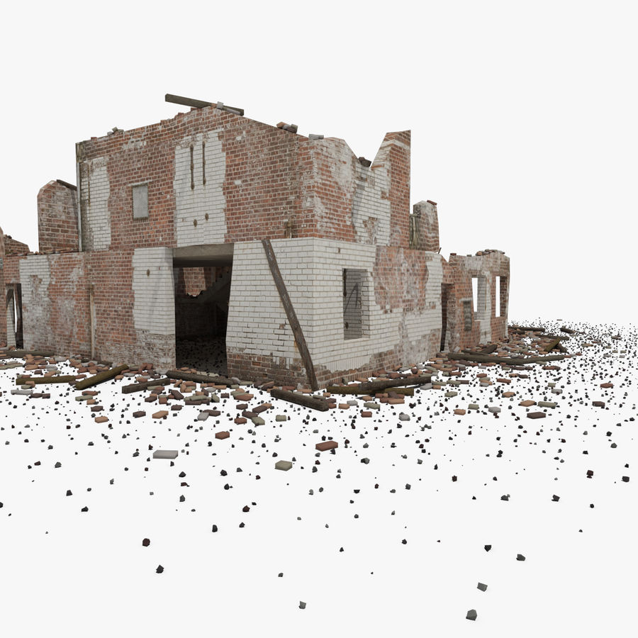 Ruined Building royalty-free 3d model - Preview no. 7