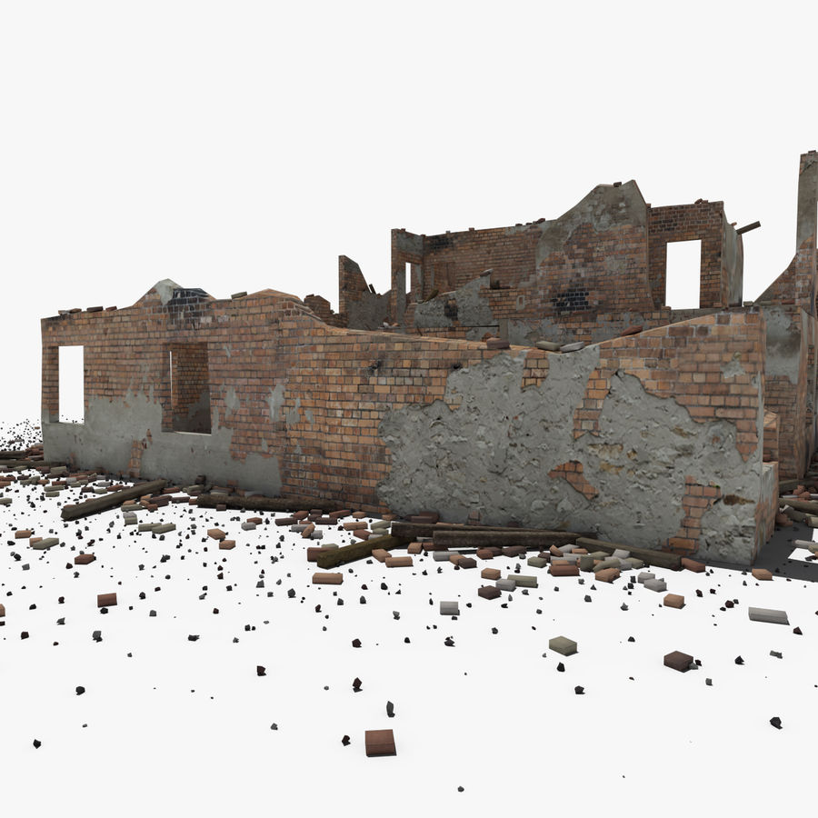 Ruined Building royalty-free 3d model - Preview no. 13
