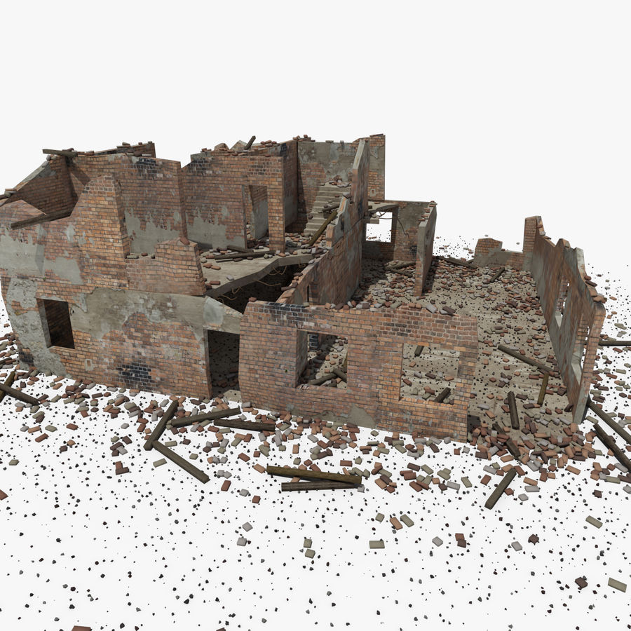 Ruined Building royalty-free 3d model - Preview no. 21