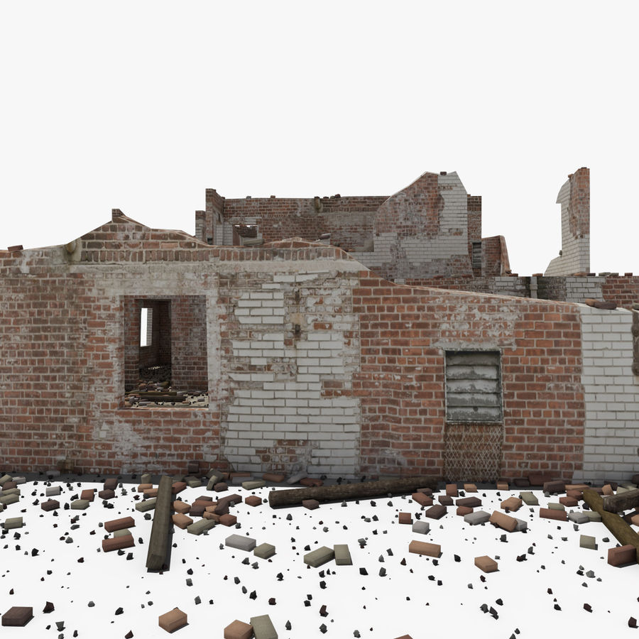 Ruined Building royalty-free 3d model - Preview no. 3