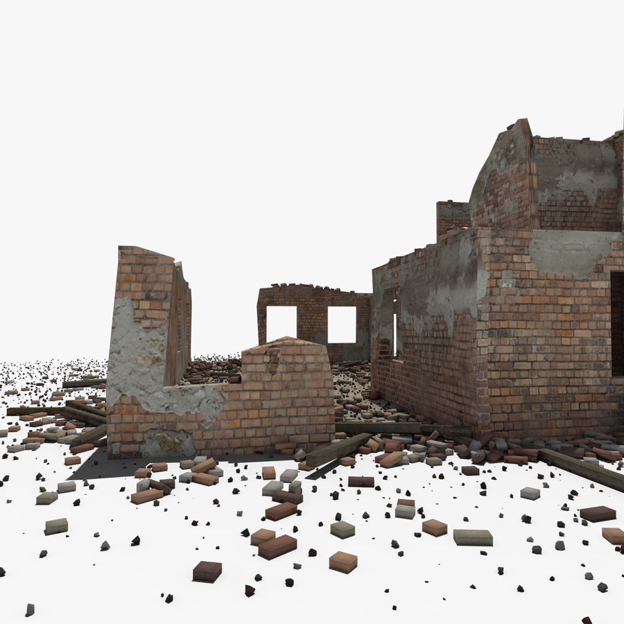 Ruined Building royalty-free 3d model - Preview no. 16