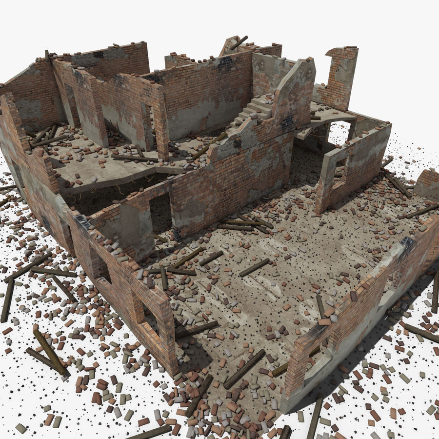 台無しにされた建物 royalty-free 3d model - Preview no. 22