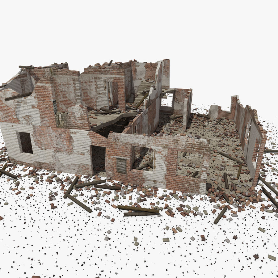 Ruined Building royalty-free 3d model - Preview no. 9