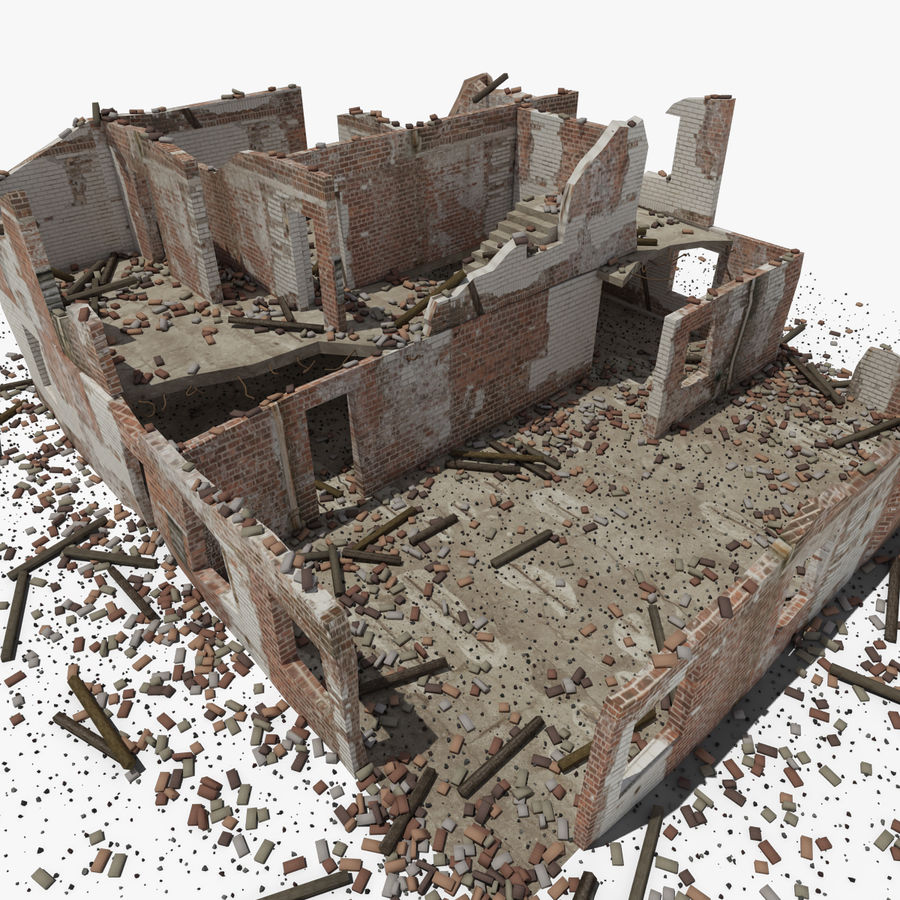 Ruined Building royalty-free 3d model - Preview no. 10