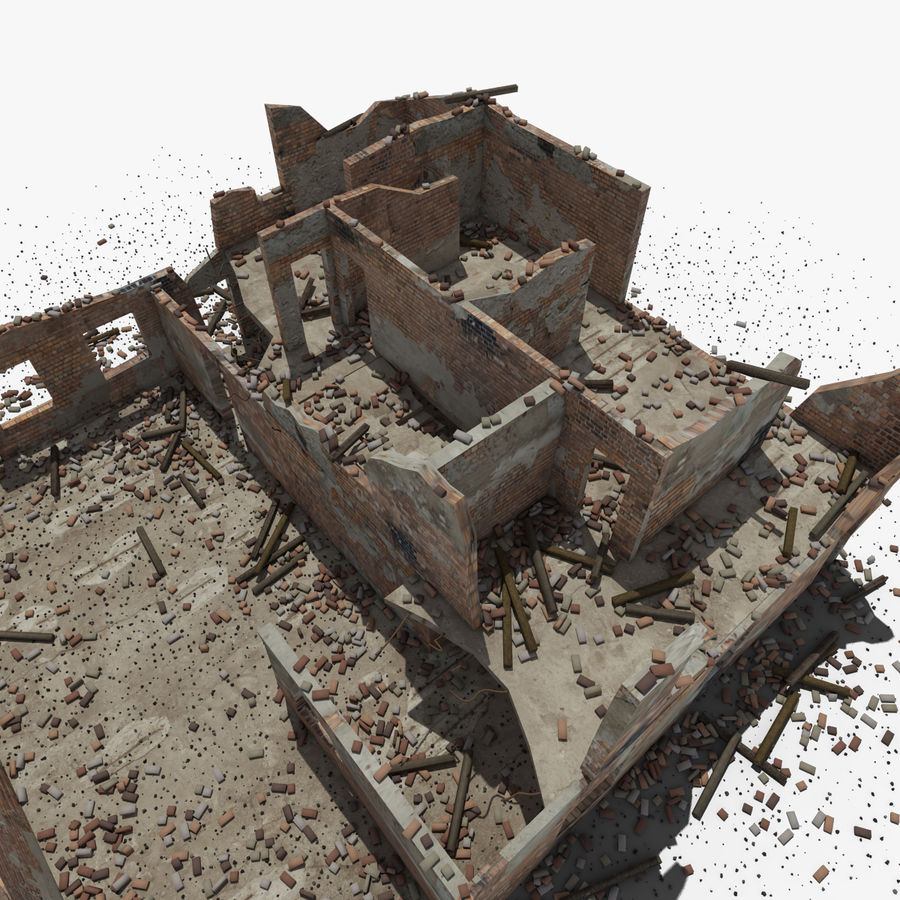台無しにされた建物 royalty-free 3d model - Preview no. 24