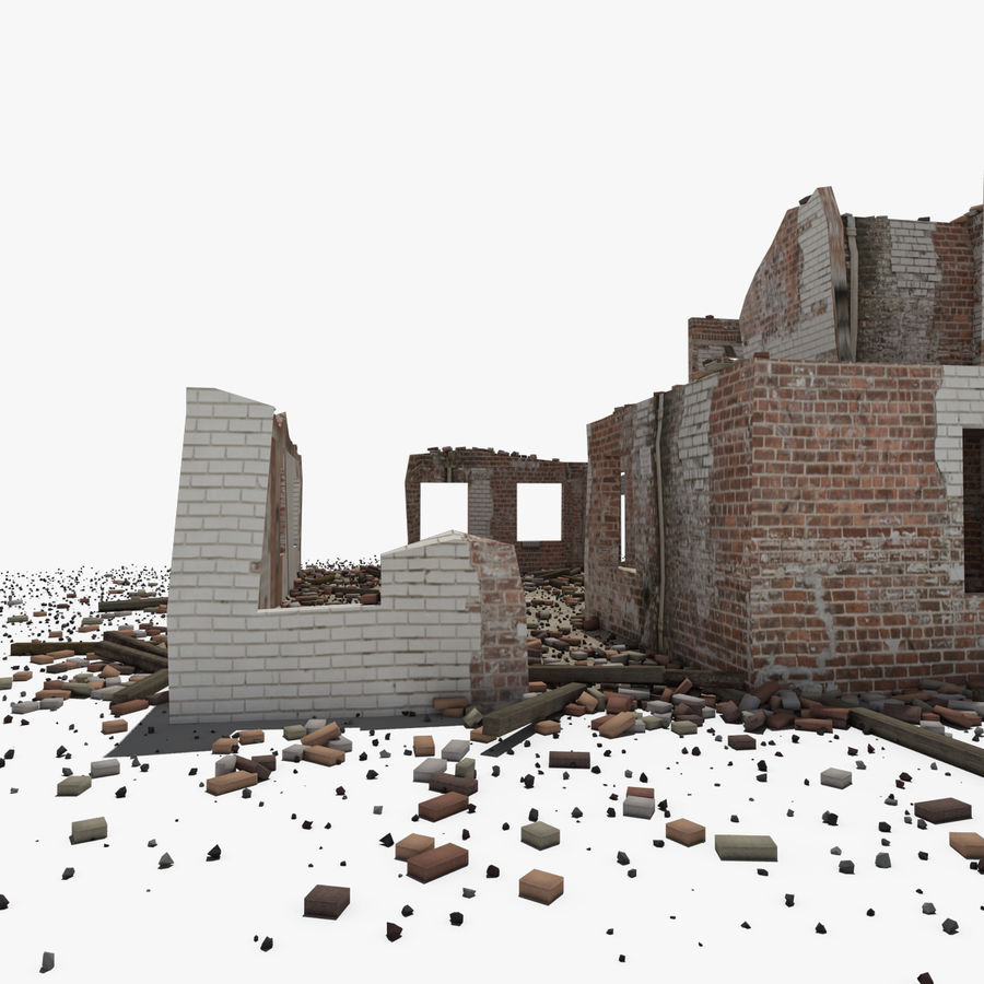 Ruined Building royalty-free 3d model - Preview no. 4