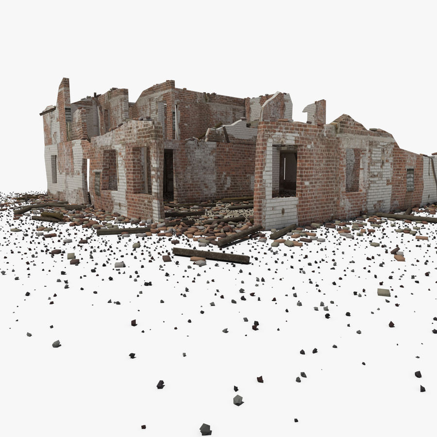 Ruined Building royalty-free 3d model - Preview no. 2
