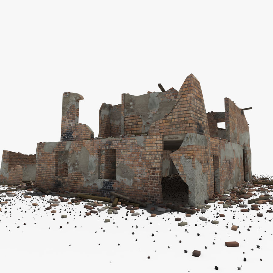 Ruined Building royalty-free 3d model - Preview no. 17