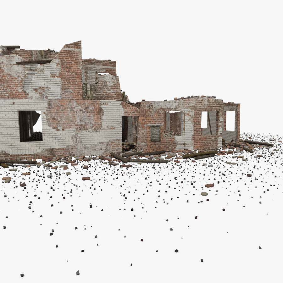 Ruined Building royalty-free 3d model - Preview no. 8