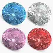Set de diamantes de corte redondo modelo 3d